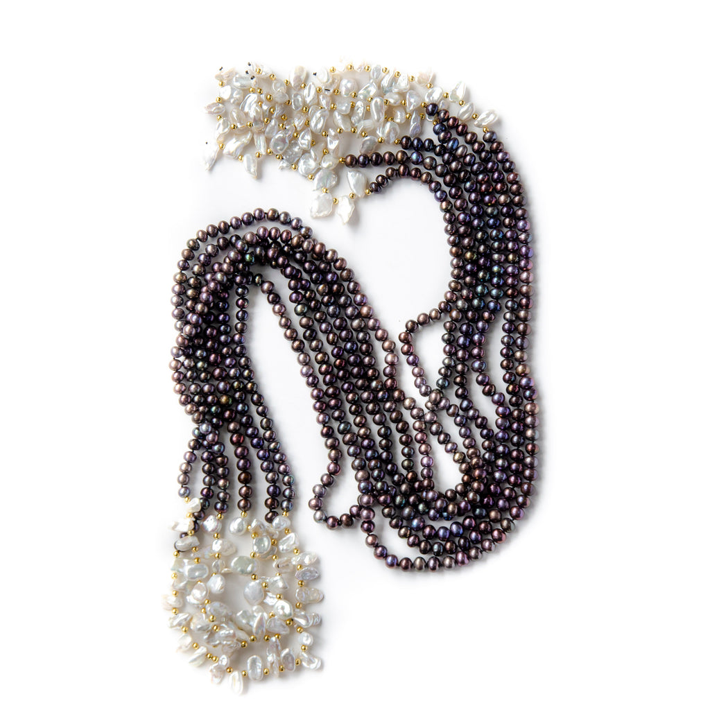 BLACK AND WHITE PEARL KNOT NECKLACE