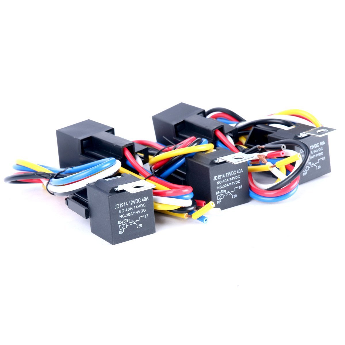 8milelake 12v 30 40 Amp 5pin Spdt Automotive Relay With Wires Socket Harness