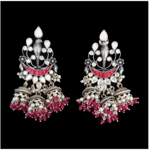Silver plated Fashion Earrings with white stone