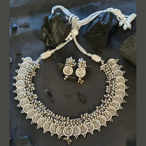 Silver Plated Temple Necklace Set with Beautiful Coin Designs (BANS00245)