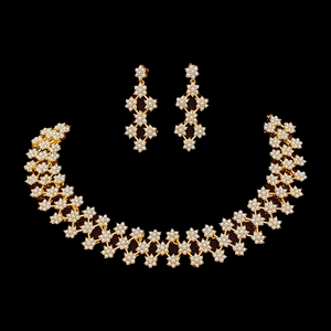 Gold Plated Necklace Set with Bright White Pearls (BANS00166)