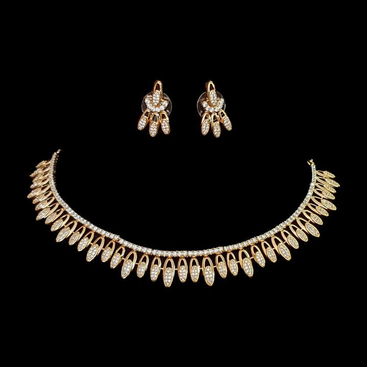 Gold Plated and CZ Stones  Embellished Necklace with Earrings (BANS00158)