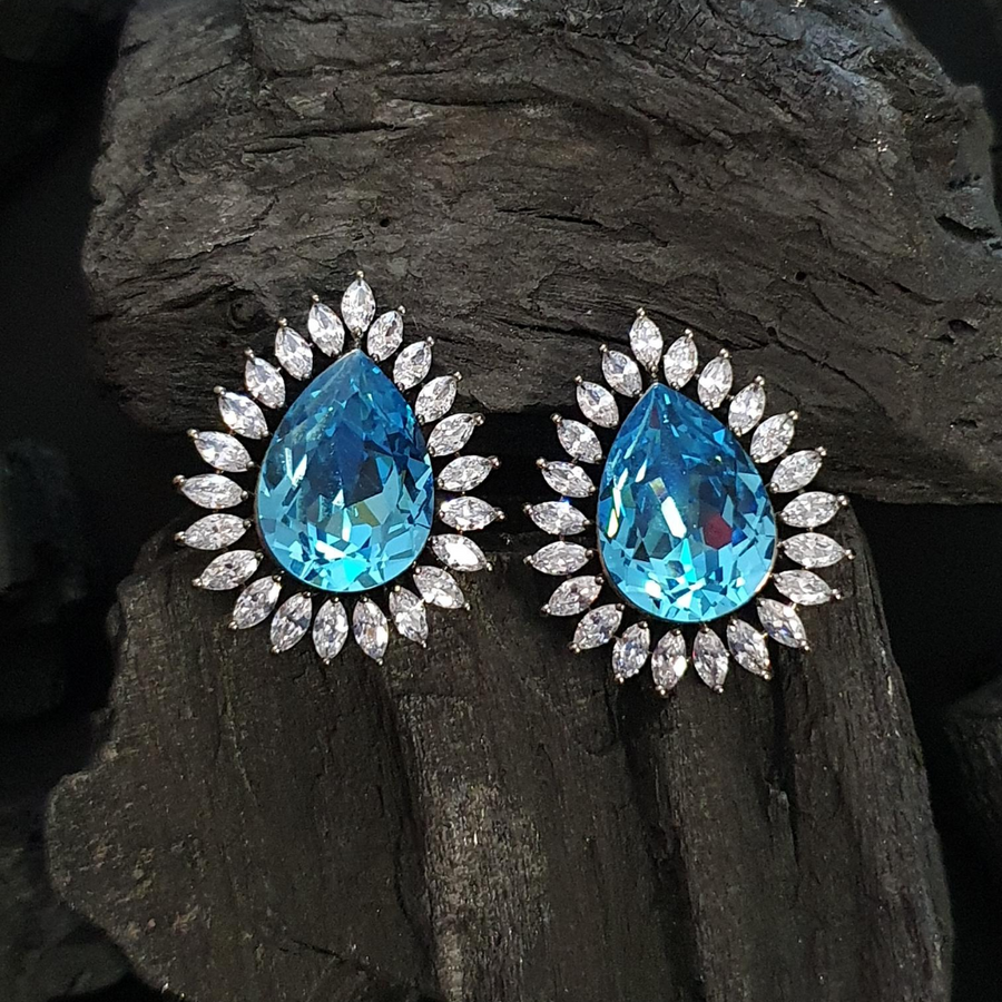 Black Rhodium Plated Earrings Adorned with White and Blue Stone (BAER0597)