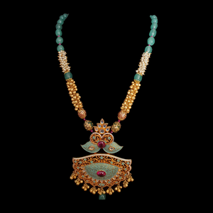 Gold Plated necklace Set with Multicolour Stones (BANS00174)