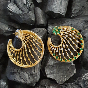 Green Stone Decked Fashion Earrings with Gold Plating (BAER0401)