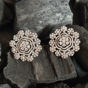 American Diamond Studded Fashion Earrings with Rhodium Plating (BAER0628)