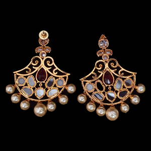Polki and CZ Stone Studded Fashion Earrings with Gold Plating (BAER0532)