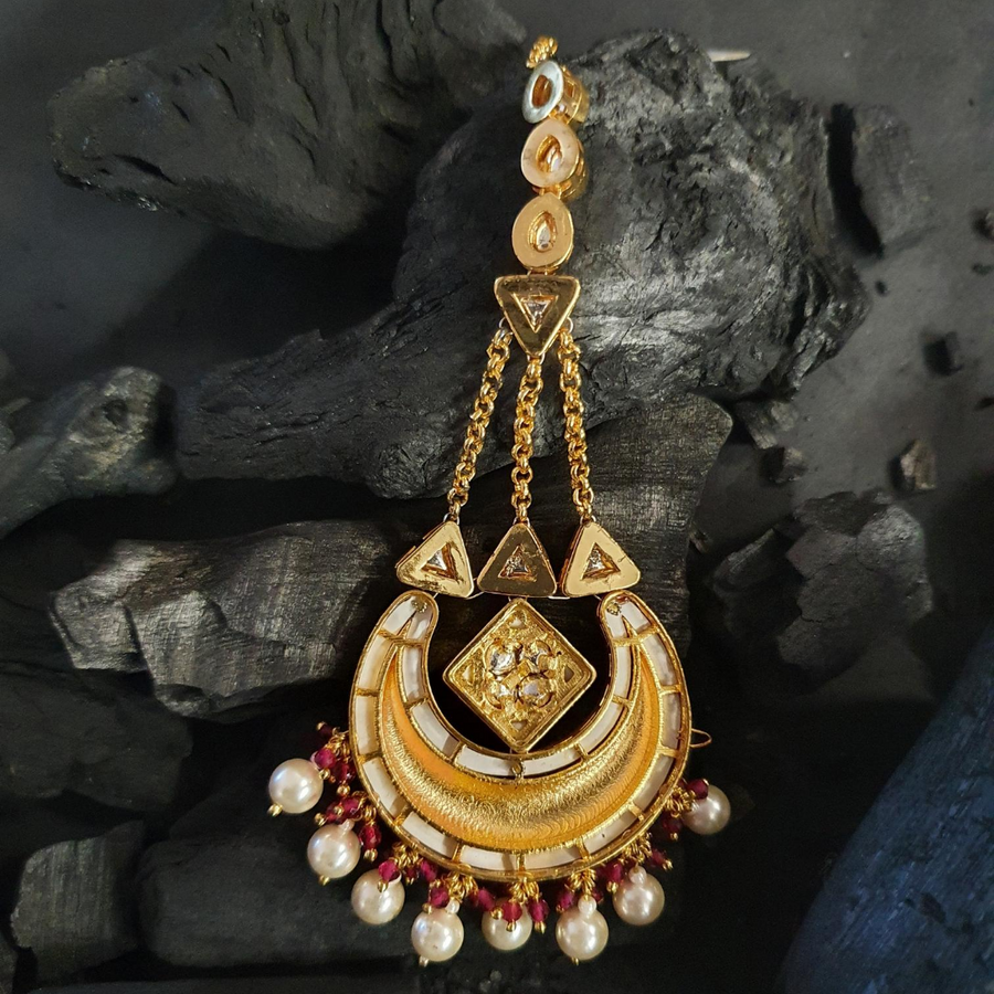 Gold Plated Ethnic Style Maang Tikka with Ruby and Vilandi Stones (BAMT033)