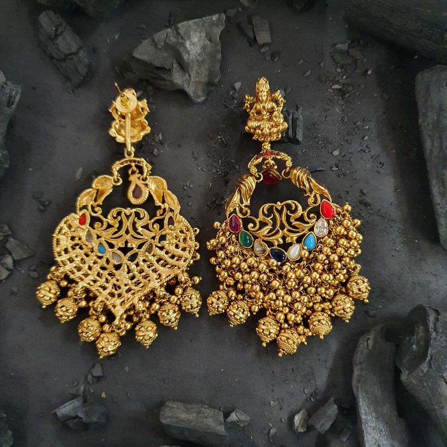 Multi colour Stone Decked Temple Earrings with Gold Plating (BAER0482)