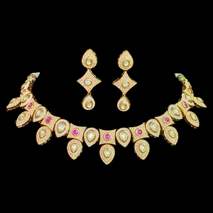 Gold Plated Necklace Set with Fine Hand Carvings for Women (BANS0092)
