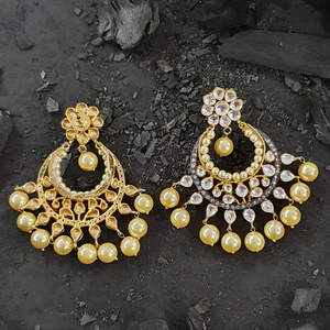 White and Yellow Stones Studded Dangler and Drop Earrings with Gold Plating (BAER0424)
