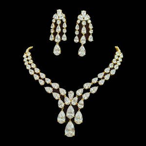 Gold Plated Necklace Set with White Stones (BANS00189)