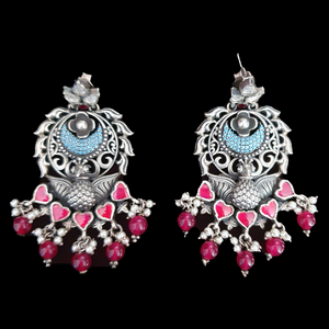 Ruby Stone Studded Fashion Earrings with Silver Plating (BAER0500)