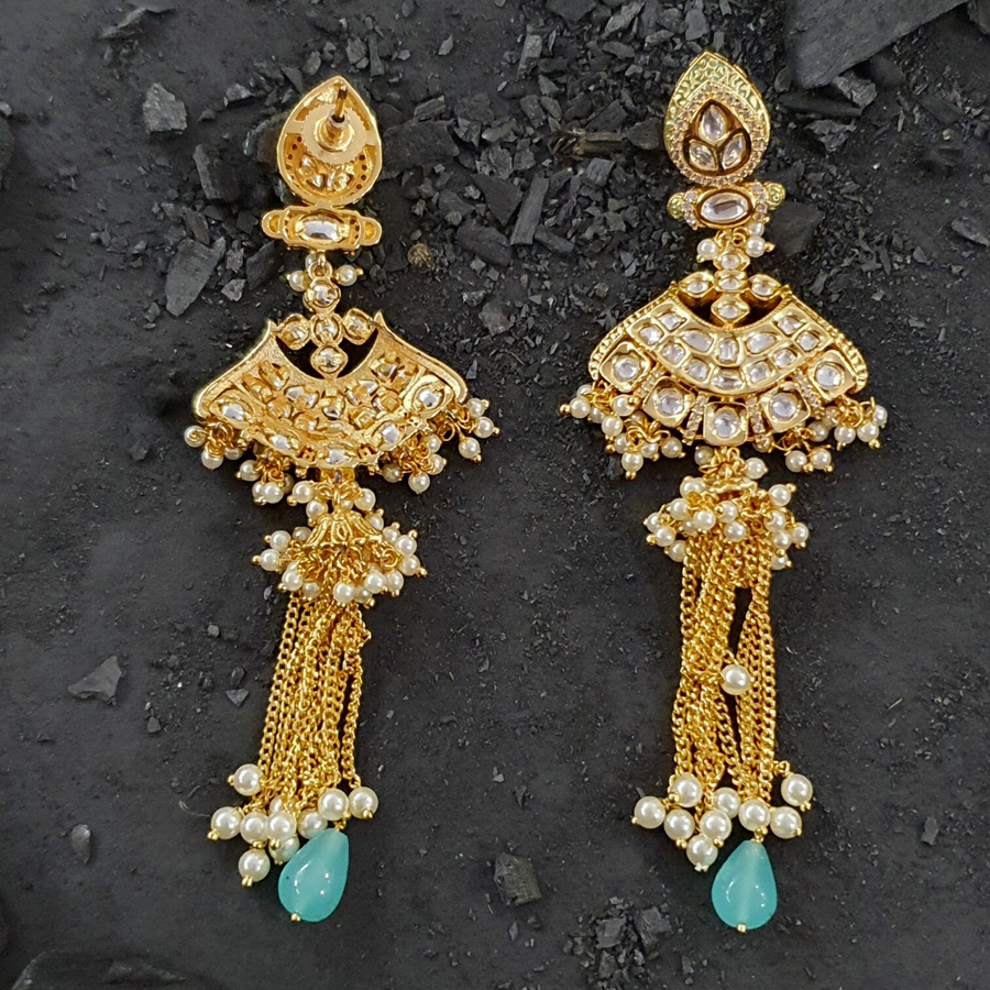 Gold Plated Fashion Earrings with White and Blue Stone  (BAER0427)