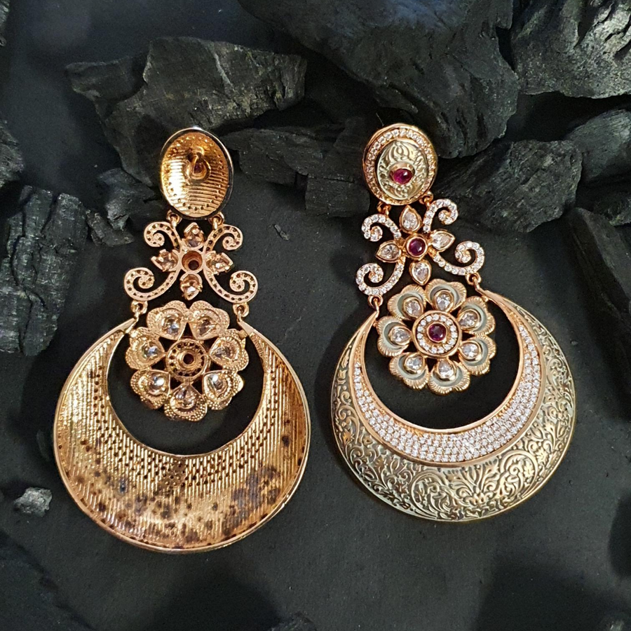 Gold Plated Fashion Earrings with Ruby Stones (BAER0608)