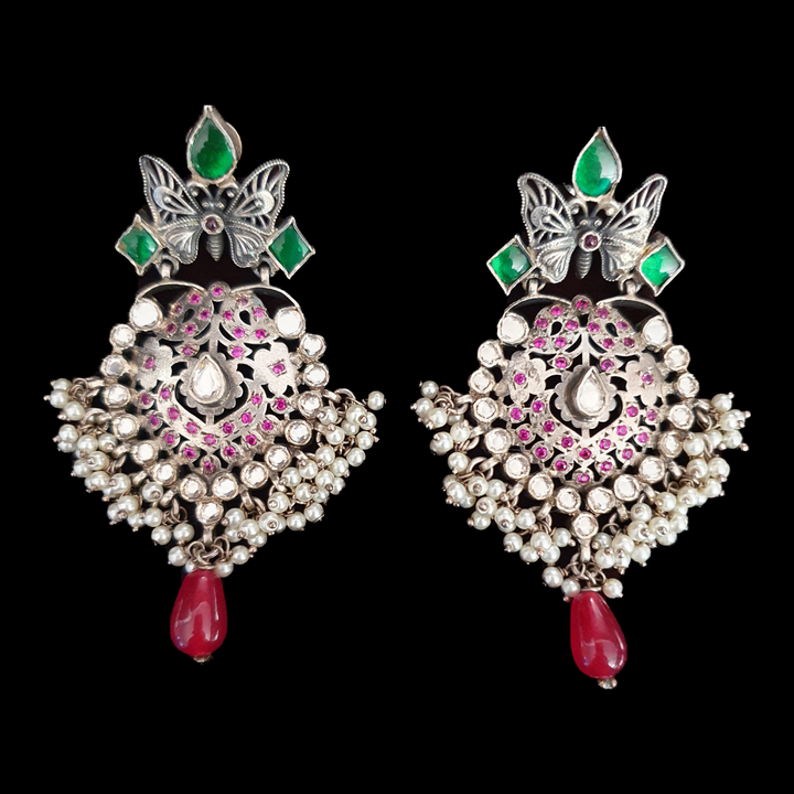 Ruby Stone Studded Silver Plated Dangler Earrings (BAER0509)