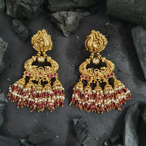 Gold Plated Fashion Earrings with Ruby Stone (BAER0486)