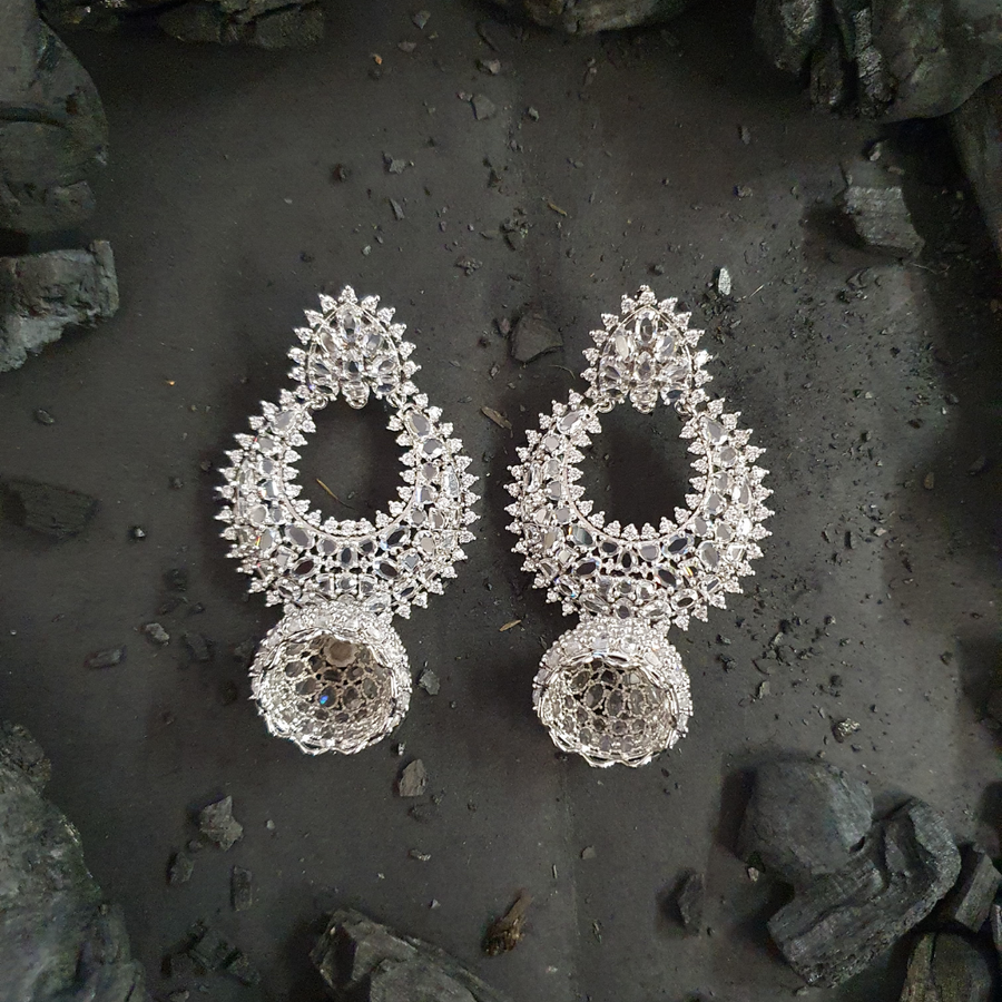 CZ Stone Studded Rhodium Plated Fashion Earrings (BAER0484)