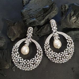 Rhodium Plated Dangler Earrings with CZ Stone (BAER0598)