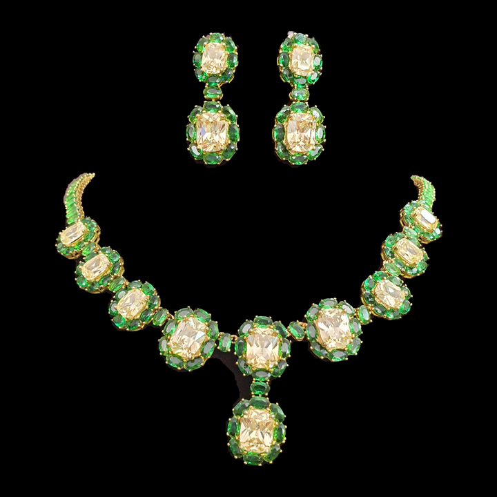 Gold Plated Necklace Set with Exquisite Green Stones (BANS00184)