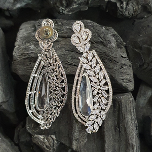 White Colour Stone Adorned Dangle Earrings with Rhodium Plating (BAER0388)