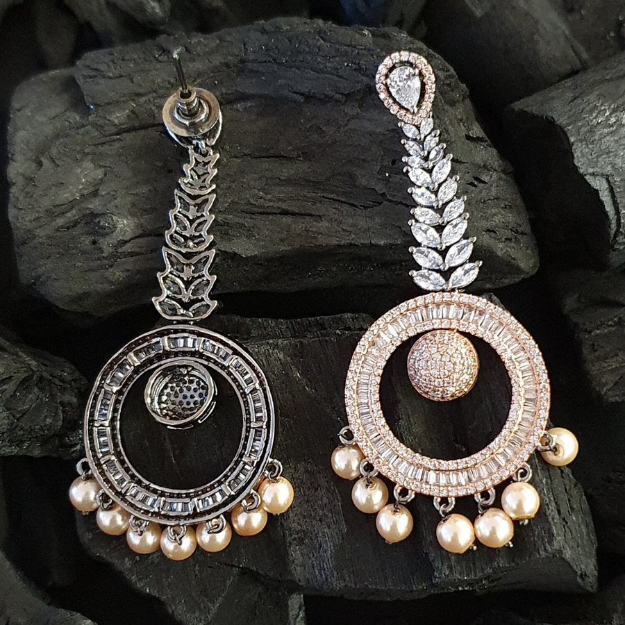 Rhodium Plated Long Earrings Carvings with White Stones and Pearls (BAERM0412)