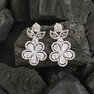Rhodium Plated Floral Style Earrings with CZ Stone (BAER0369)
