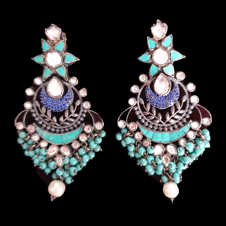 Silver Plated Fashion Earrings with Sky Blue Stone (BAER0511)