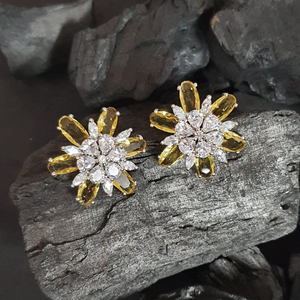 Yellow Stone Studded Fashion Earrings with Rhodium Plating (BAER0624)