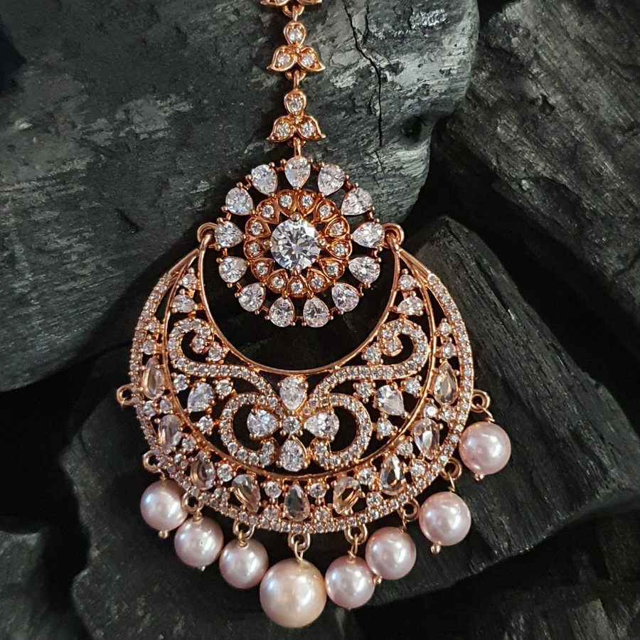 Rose Gold Plated Maang Tikka Studded with Polki Stones (BAMT04)