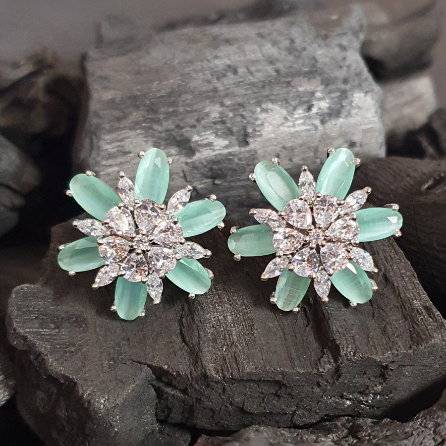 Sea Green Stone Studded Fashion Earrings with Rhodium Plating (BAER0622)