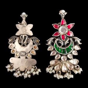Multi colour Stone Decked Ethnic Earrings with Silver Plating (BAER0507)