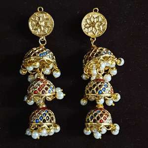 Gold Plated Jhumka Earrings with Multicolour Stones (BAERR0619)