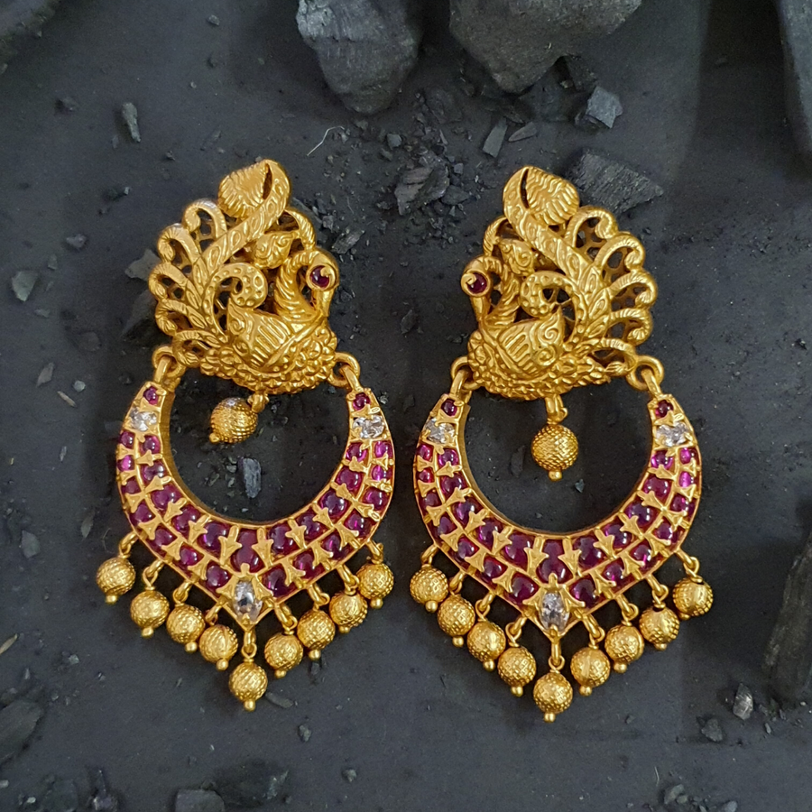 Gold Plated Peacock Style Dangler Earrings with Ruby Stones (BAER0460)