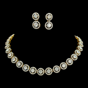 Gold Plated Necklace Set with Beautiful CZ Stones (BANS00192)