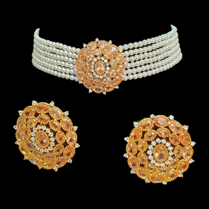 Necklace with Earrings having Yellow Stones and Gold Plating (BANSS00229)