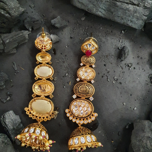 Gold Plated Fashion Earrings with Vilandi Stone (BAER0494)