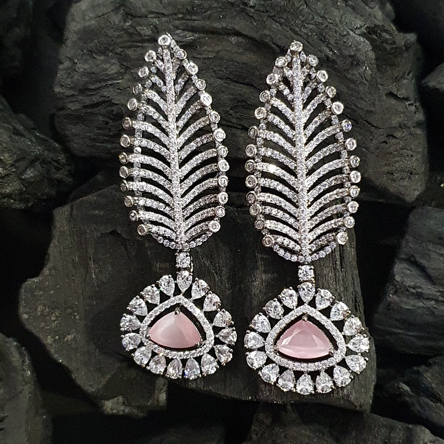 Pink Stone Embellished Rhodium Plated CZ Earrings (BAERS0413)