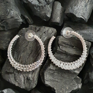 Rhodium Plated Earrings Adorned with White and CZ Stone (BAER0395)