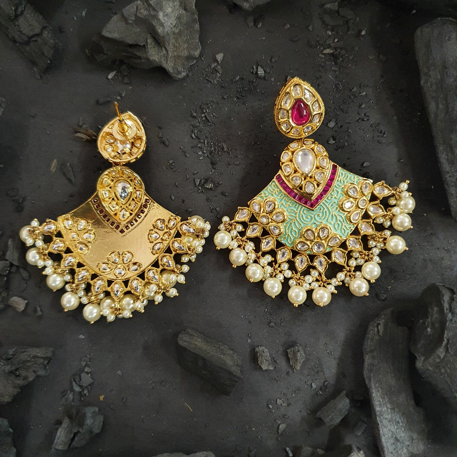 Gold Plated Fashion Earrings with Ruby Stone (BAER04586)