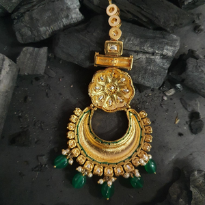 Gold Plated Green Colour Maang Tikka with Elite Vilandi Stones (BAMT026)