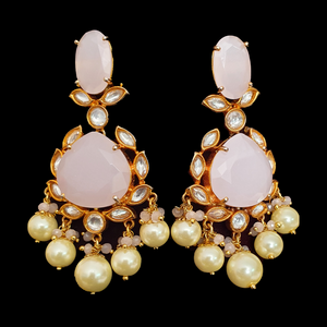 Pretty Pink Stone Adorned Dangler Earrings with Gold Plating (BAER0548)