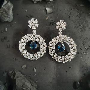 Two Tone Plated Earrings with Blue CZ Stone (BAER0294)