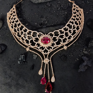 Choker Set with Ruby Stones and Gold Plating (BANSR00236)
