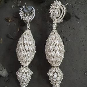 Rhodium Plated Earrings Adorned with CZ Stones (BAER0472)