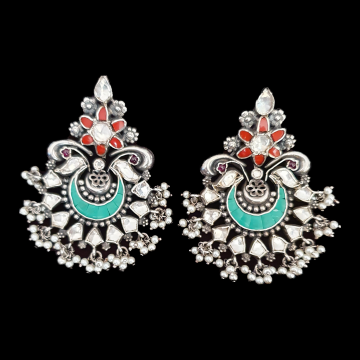 White Stones Adorned Silver Plated Fashion Earrings (BAER0508)