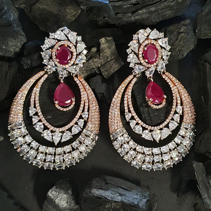Rhodium Plated Dangler Earrings with Ruby Stones (BAER0600)