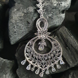 Cubic Zirconia Stone Studded Maang Tikka with Rhodium Plating (BAMT03)