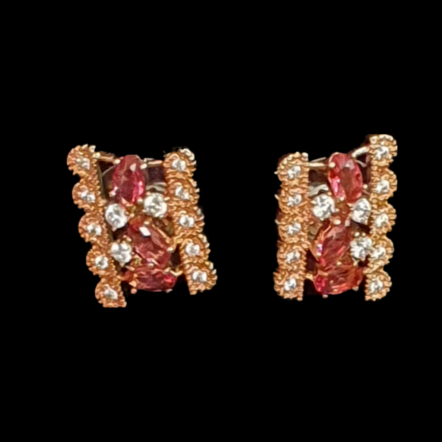 Rose Gold Plated and CZ Stone Embellished Red Necklace with Earrings (BANS00159)