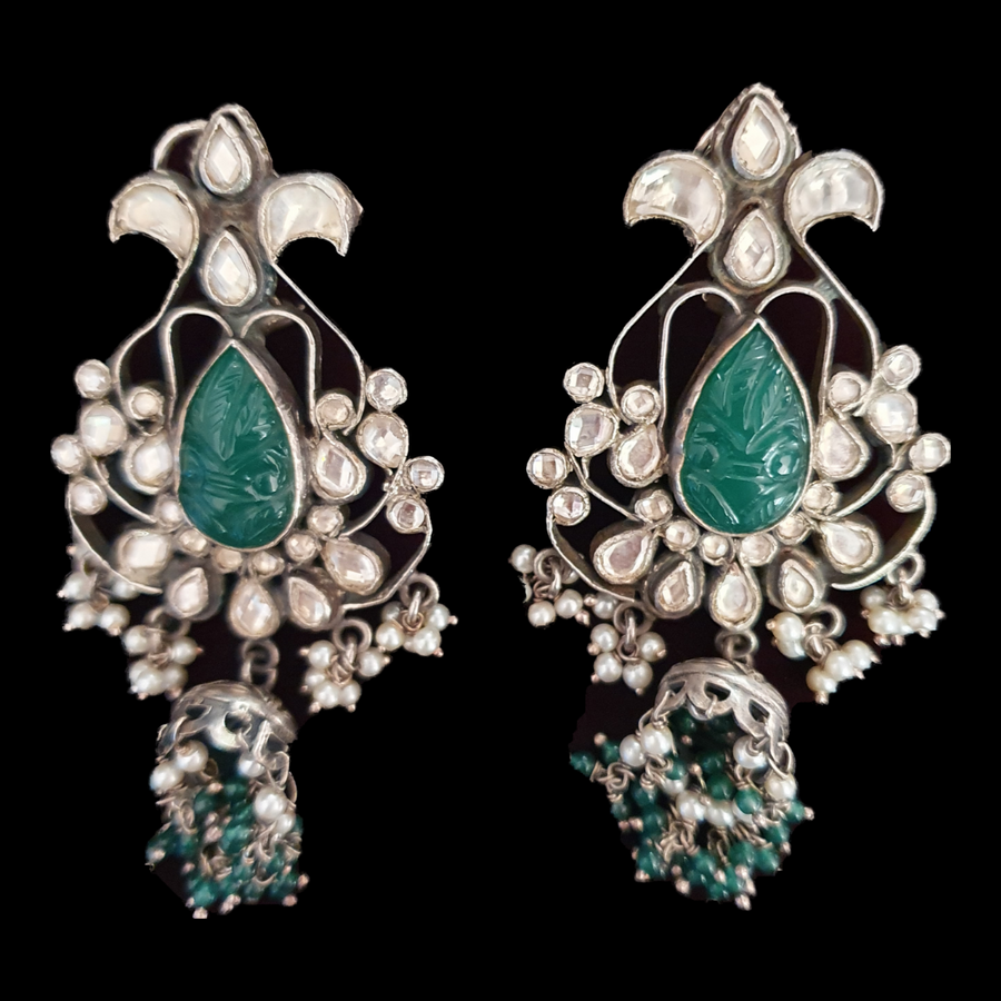 Green Stone Adorned Jhumka Earrings with Silver Plating and Green Balls (BAER0513)